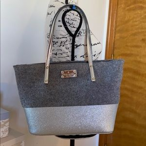 Kate Spade wool and silver sparkle bag